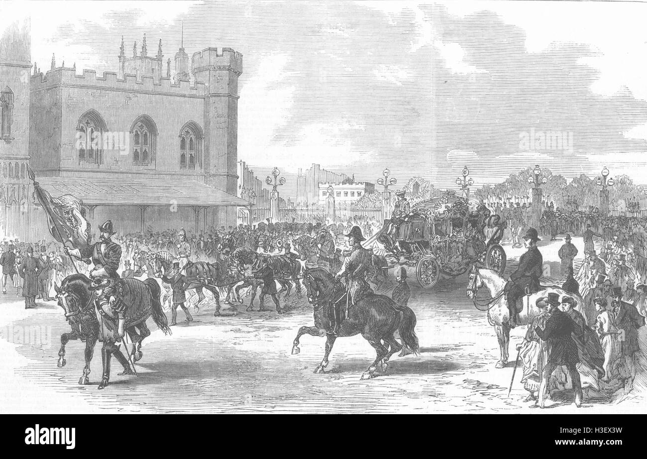 LONDON Lord Mayors Day parade at new Palace Yd 1868. Illustrated London News - Stock Image
