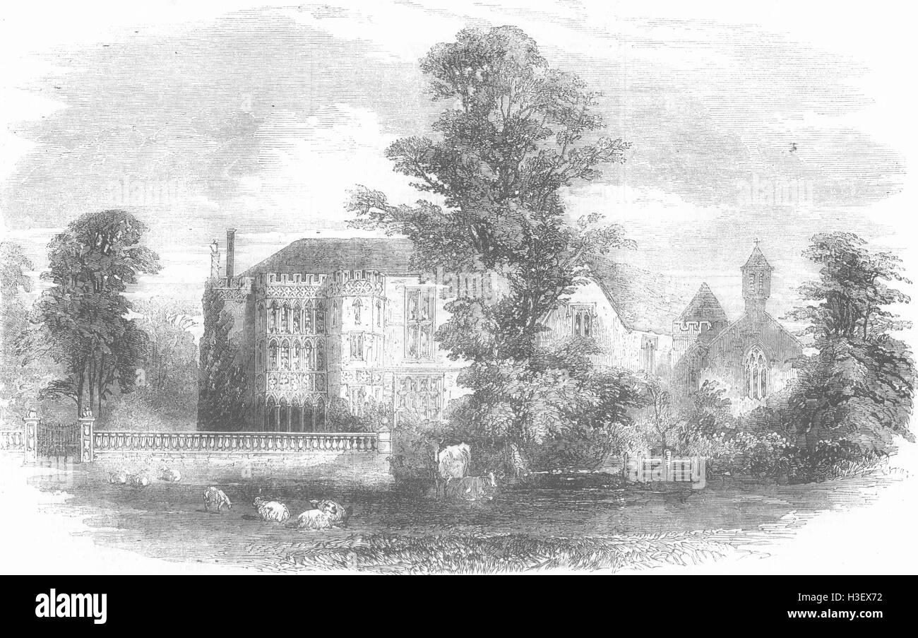 SOMERSET Brympton d'Evercy, near Yeovil, Somerset 1856. Illustrated London News - Stock Image