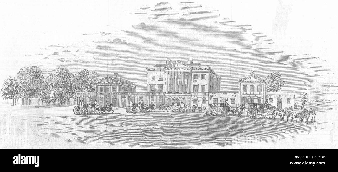 ESSEX Arrival of civic party at Basildon House 1846. Illustrated London News - Stock Image