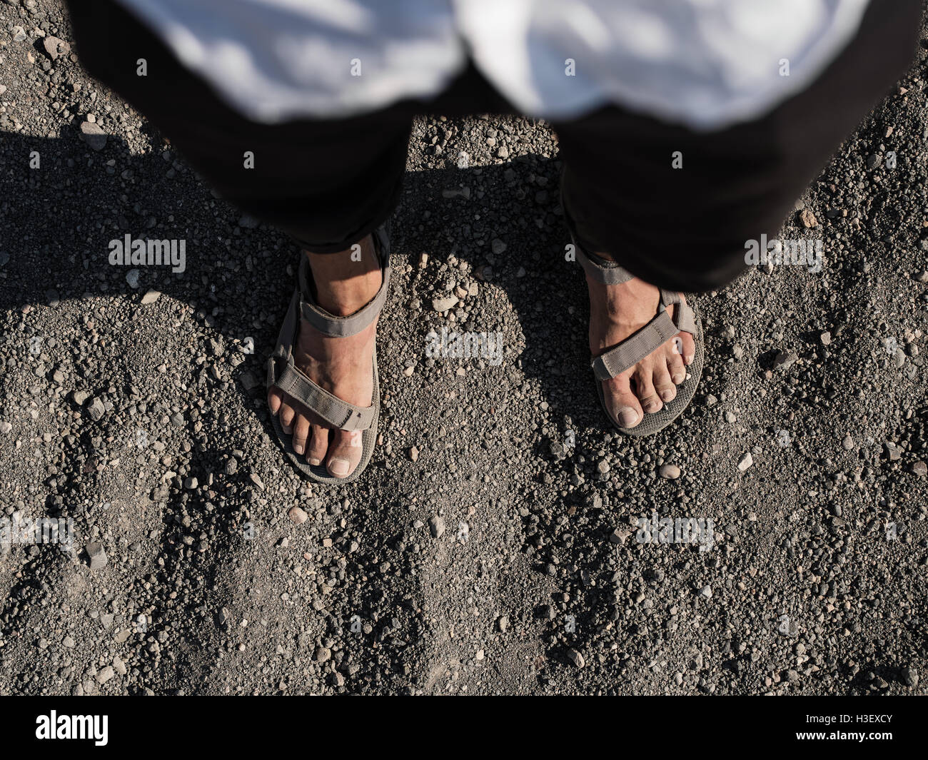 Sandals in sand - Death Valley National Park - Stock Image