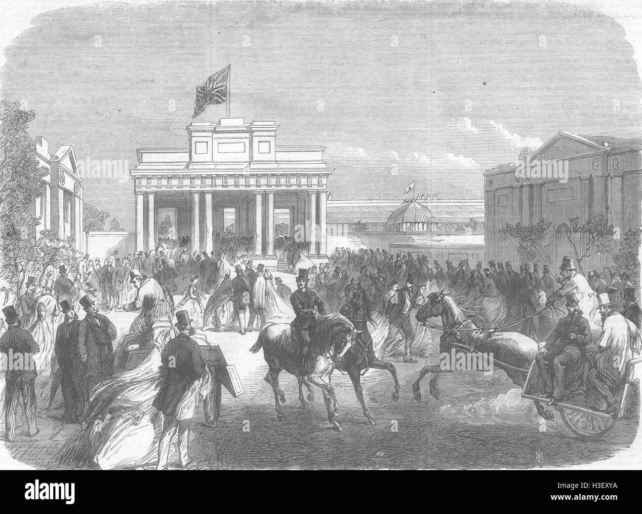 IRELAND The Dublin Exhibition West entrance 1865. Illustrated London News - Stock Image