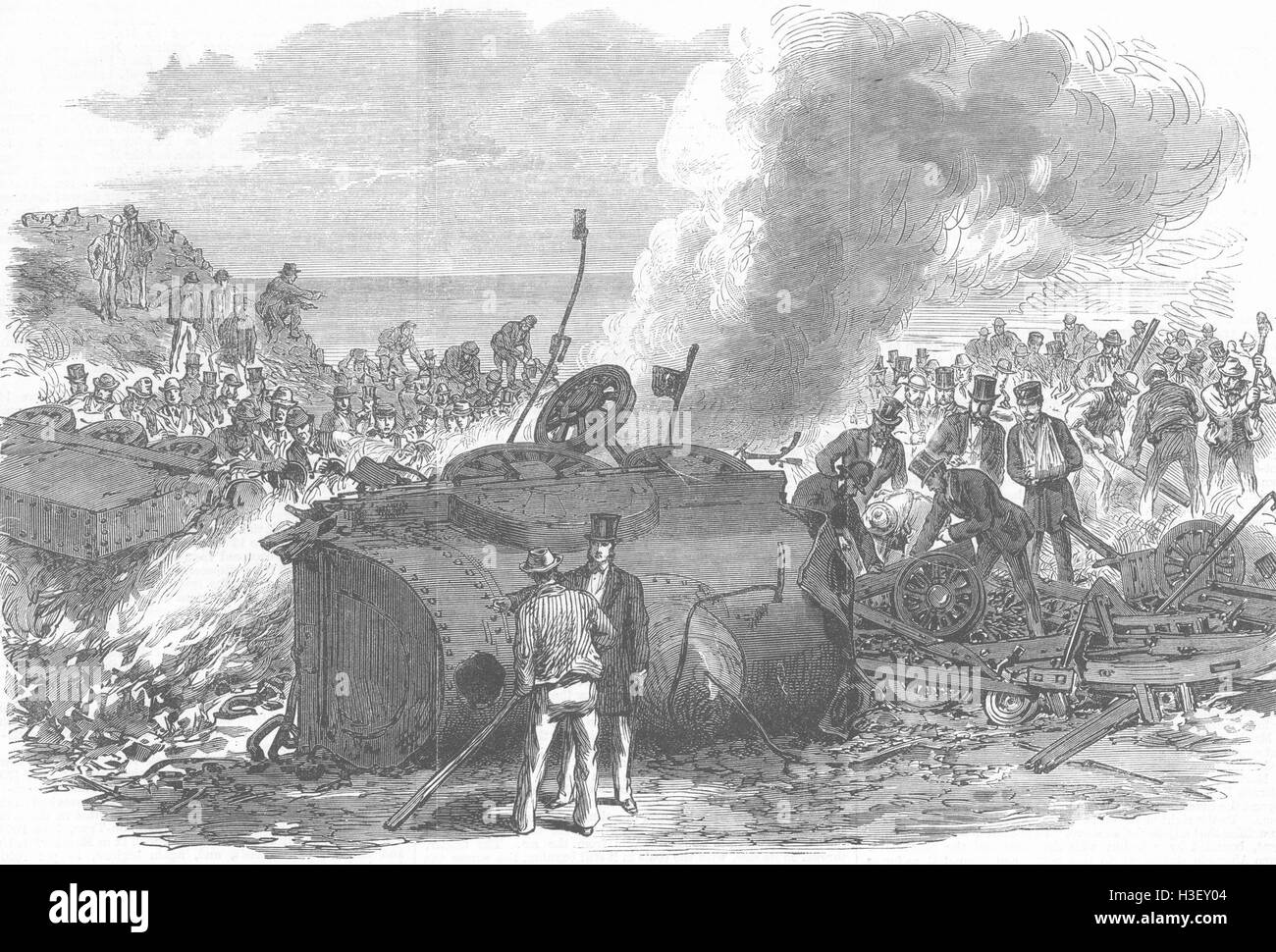 CHESHIRE disaster, Chester & Holyhead Railway 1868. Illustrated London News - Stock Image