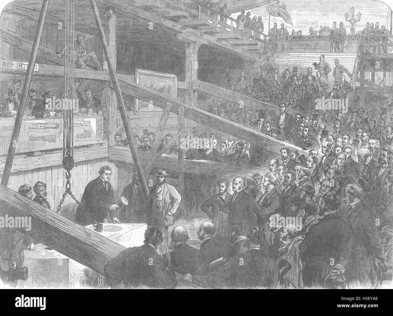 LONDON Laying keystone of Thames Albert Embankment 1866. Illustrated London News - Stock Image