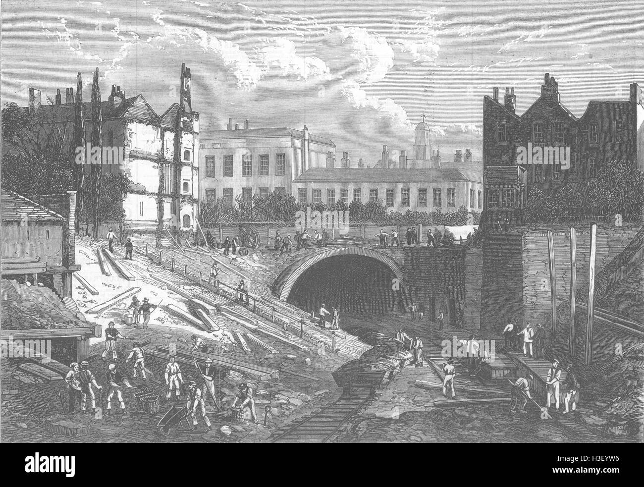 LONDON Underground railway tunnelling at Baker Street 1868. Illustrated London News - Stock Image