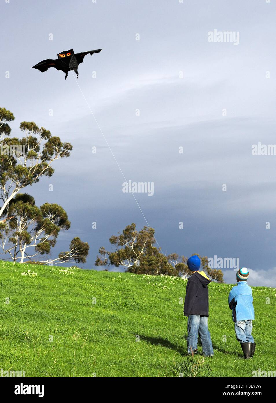Two boys flying a black bat kite on the side of a lush, green hill, with dark grey clouds in the background. - Stock Image