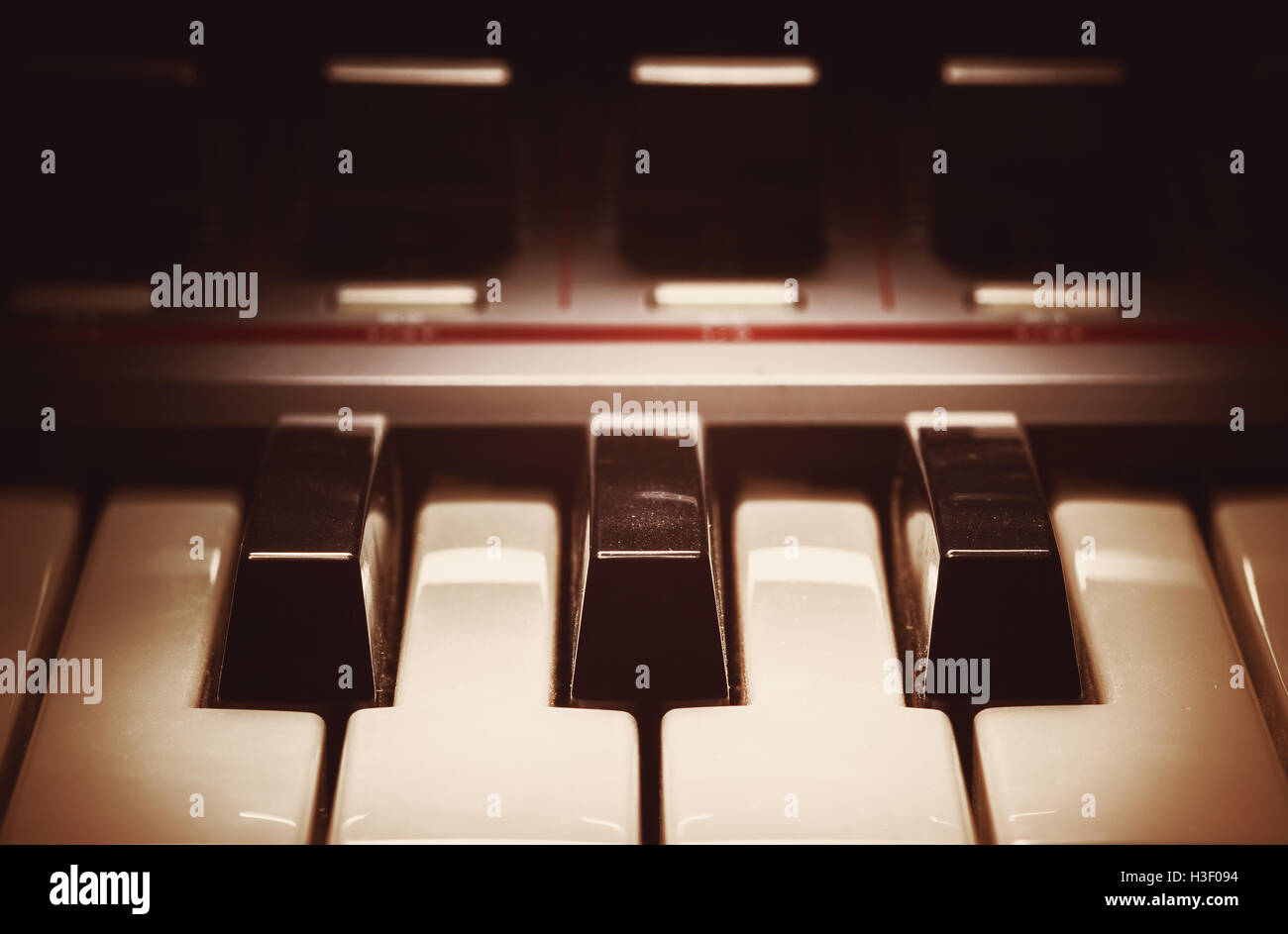 Details of a modern synthesizer keys, closeup view. - Stock Image