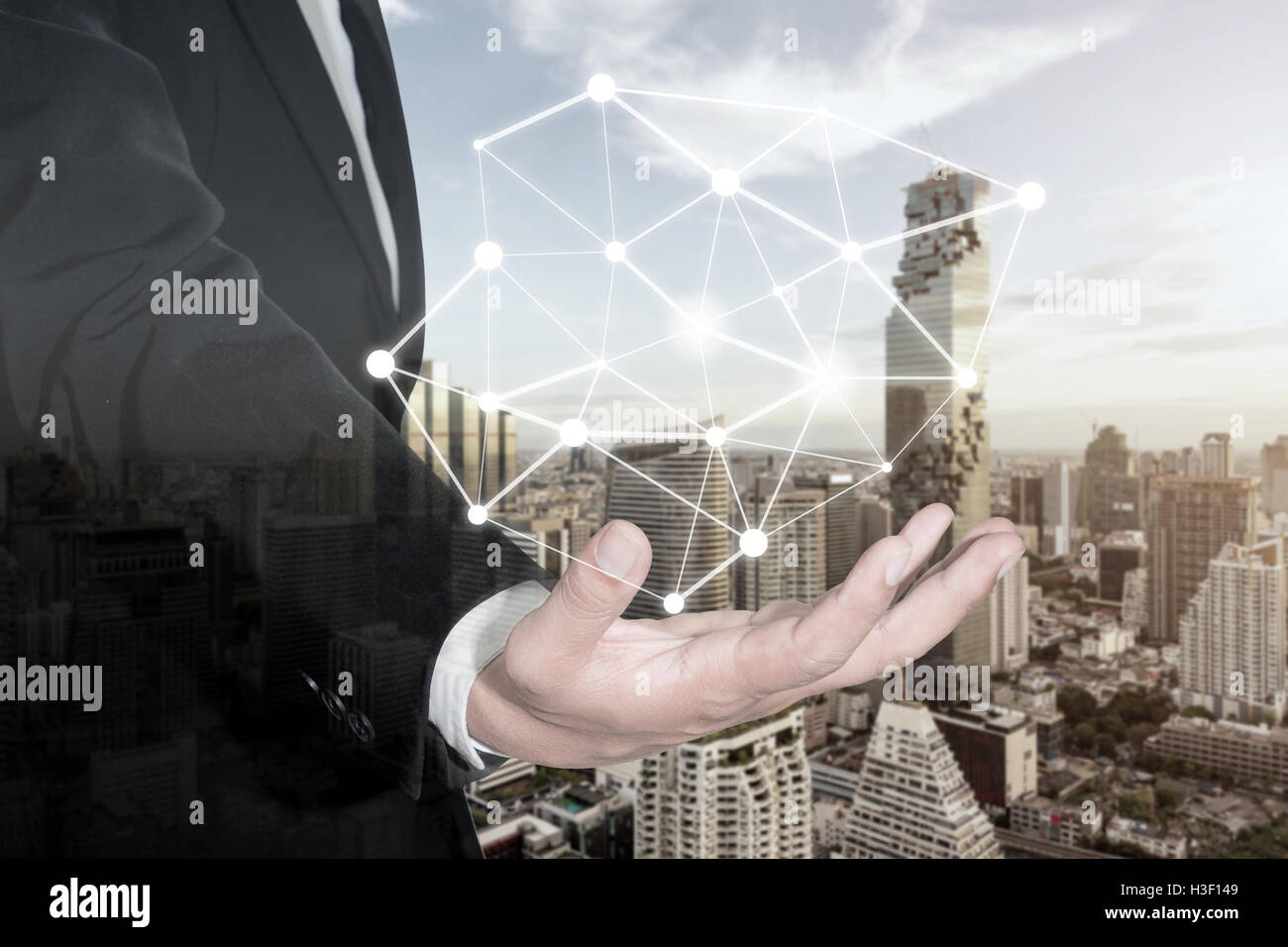 Businessman presenting connection network partnership and interaction. Connection network concept. - Stock Image