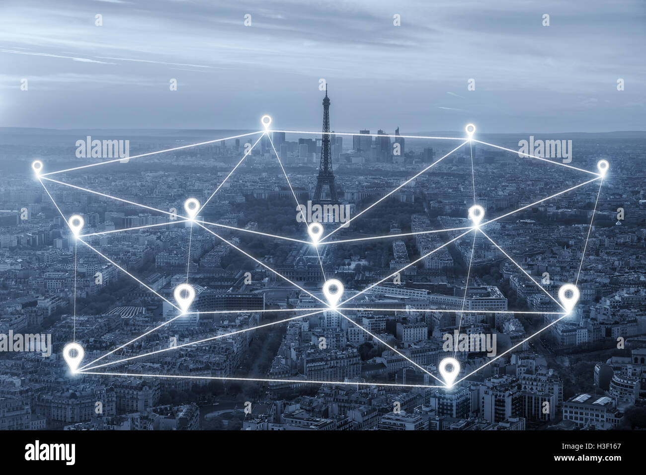 Map pin network connection flat above over Paris city. Network connection concept - Stock Image