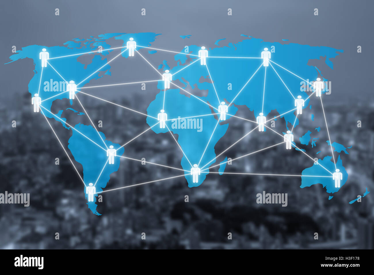 Global social network or people management connection diagram icons with map connection. Network work connections - Stock Image