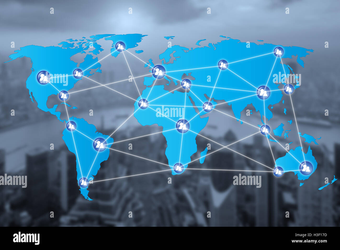 People network connection icons with World map connectionand blur city. Network work connections concept - Stock Image