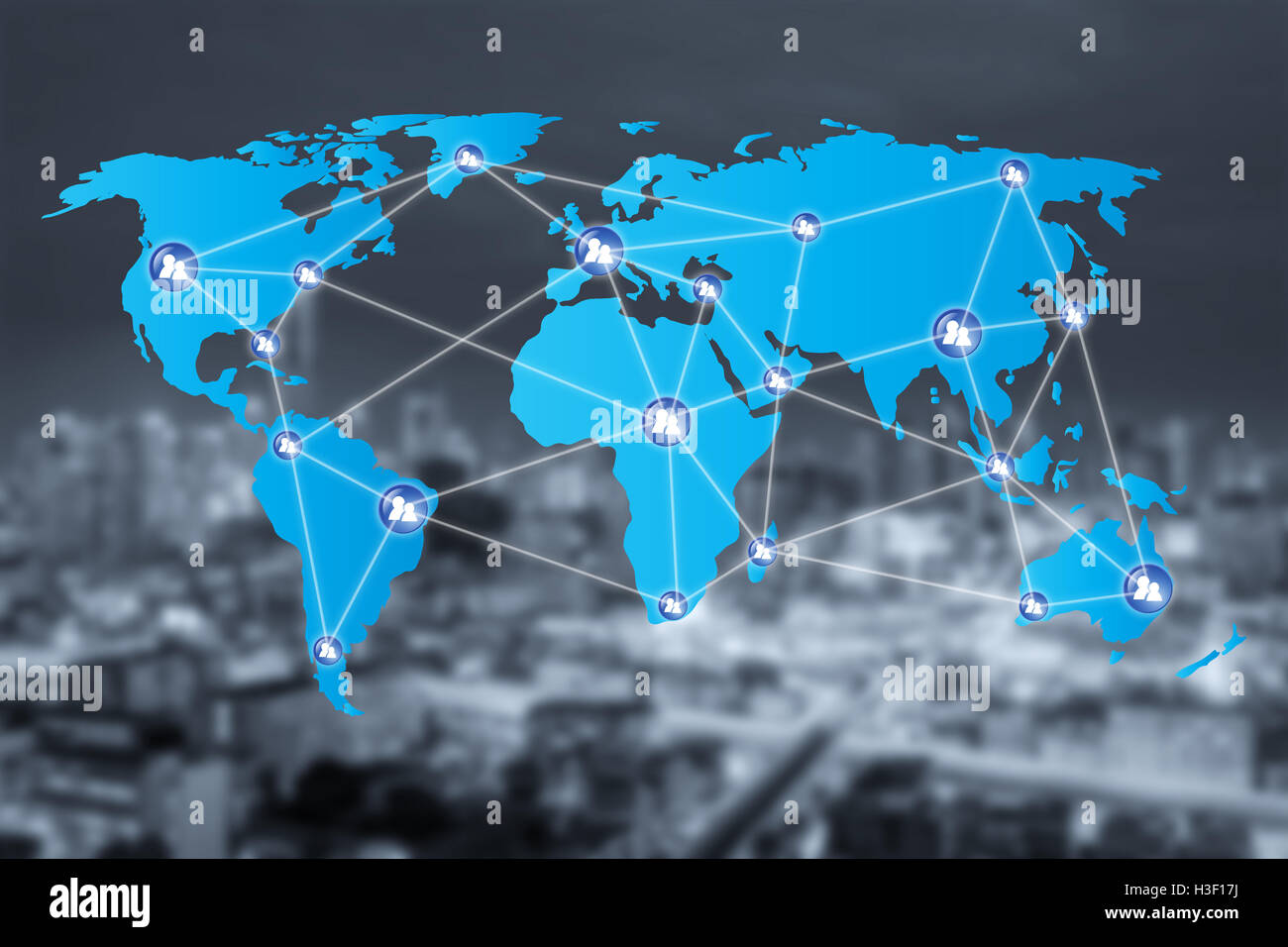 People network connection icons with World map connection and blur city. Network work connections concept - Stock Image