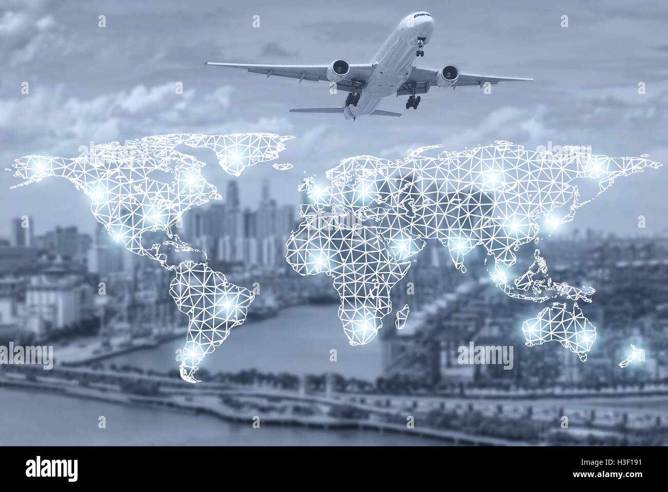 Map global partner connection of cargo container for logistic export partnership connection background - Stock Image