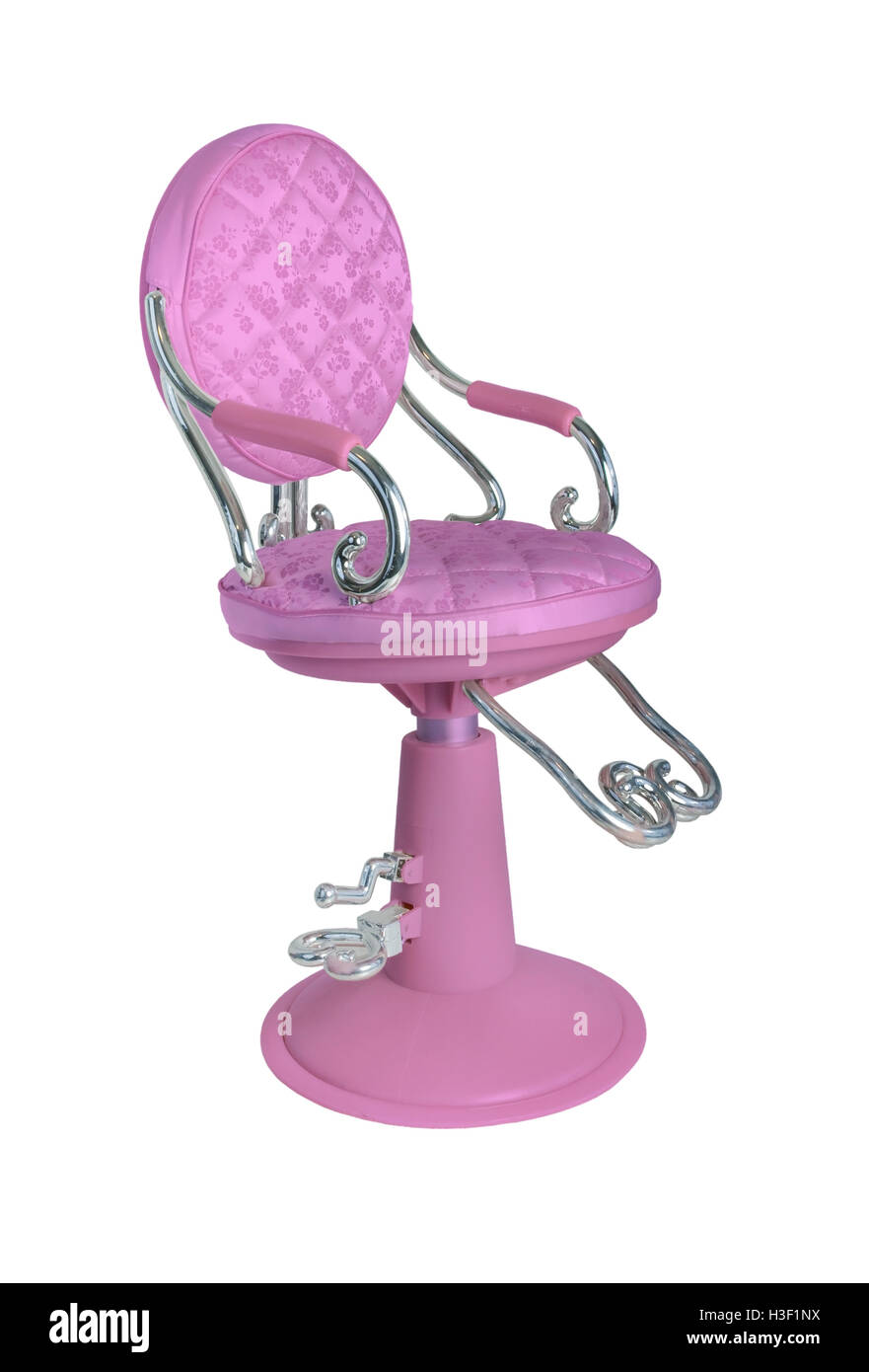 Vintage hair dresser chair used to position patrons when doing their hair - path included - Stock Image