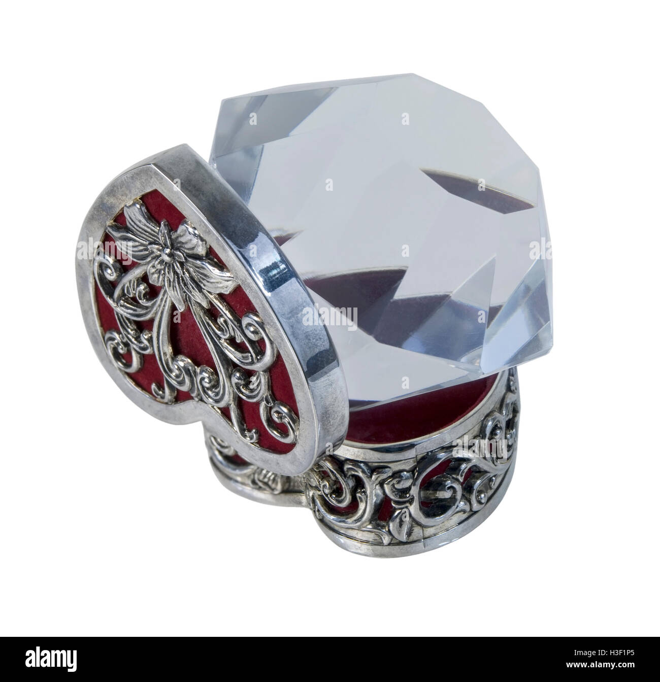 Silver Heart Box with red velvet and Big Diamond - path included - Stock Image