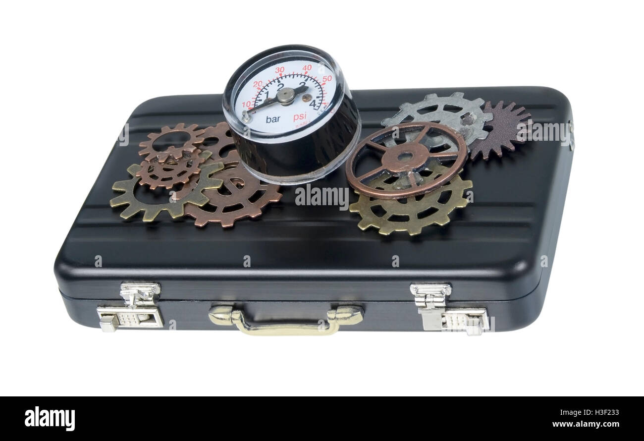 Briefcase with gage and gears used to show business pressure - path included - Stock Image