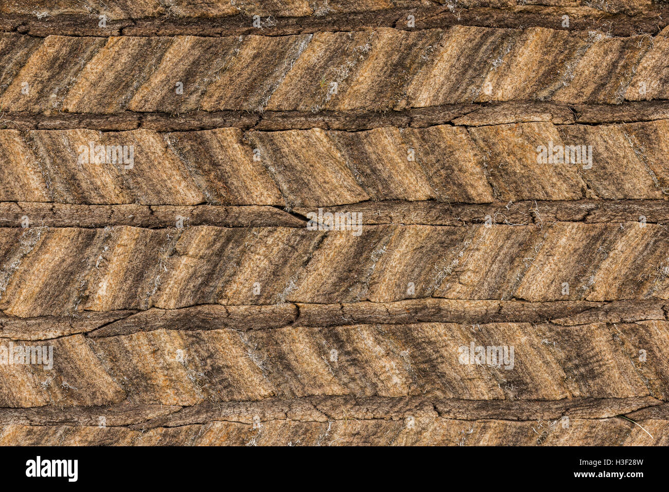 Wall of brown grass sods  of a house at Byggdasafn Skagfirdinga on Iceland. - Stock Image