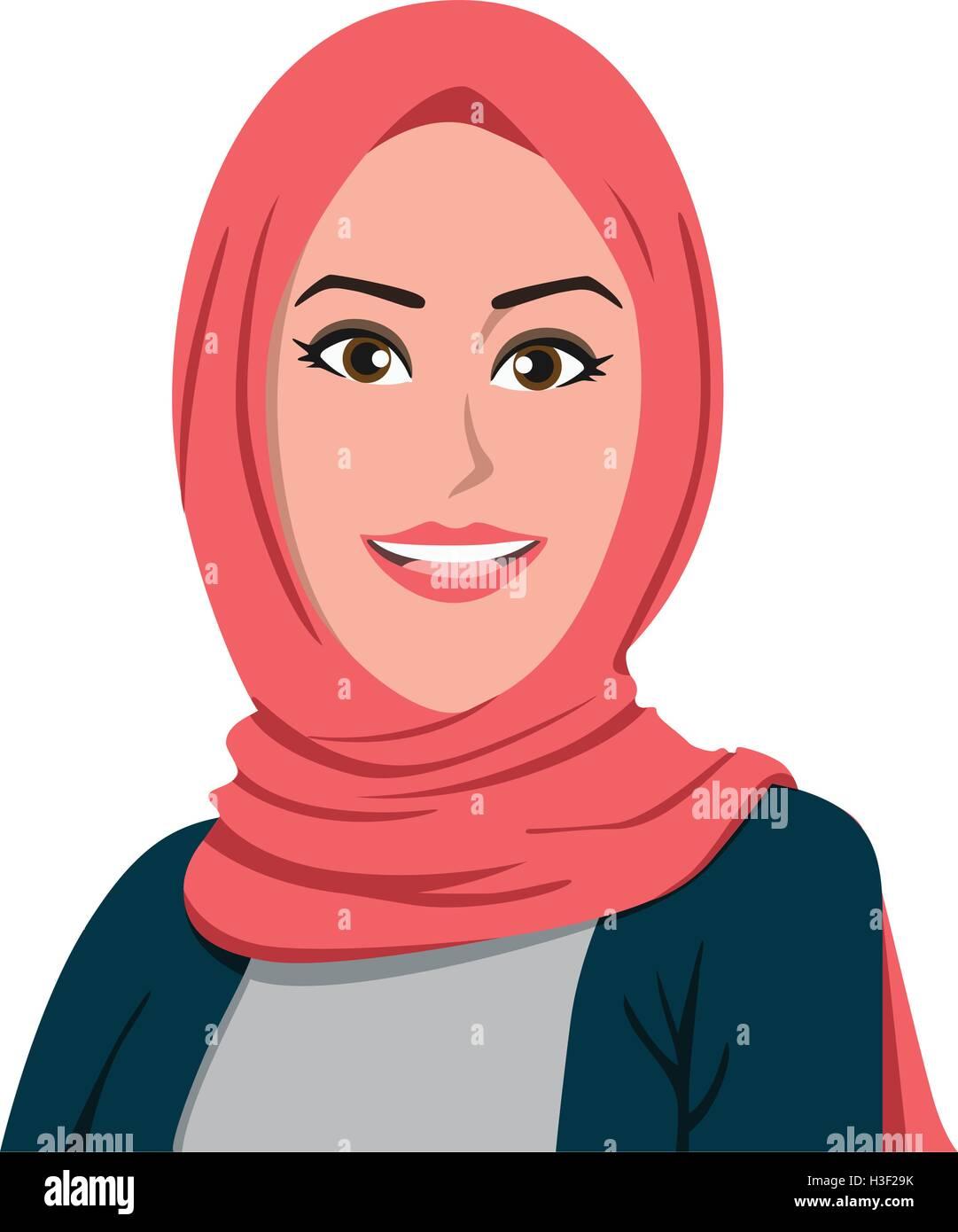 beautiful hijab girl vector illustration stock vector art