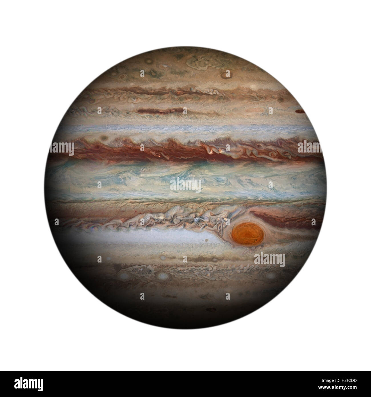 Solar System - Jupiter. Isolated planet on white background. Elements of this image furnished by NASA - Stock Image