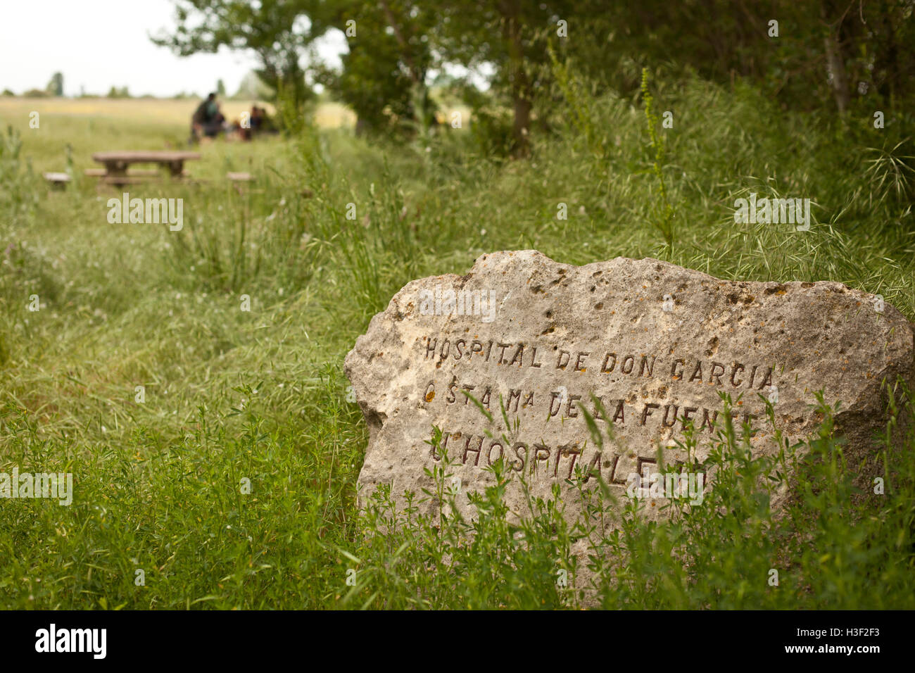 Stone marker signifies the place where a hospital once stood along the Camino de Santiago, route Frances - Stock Image