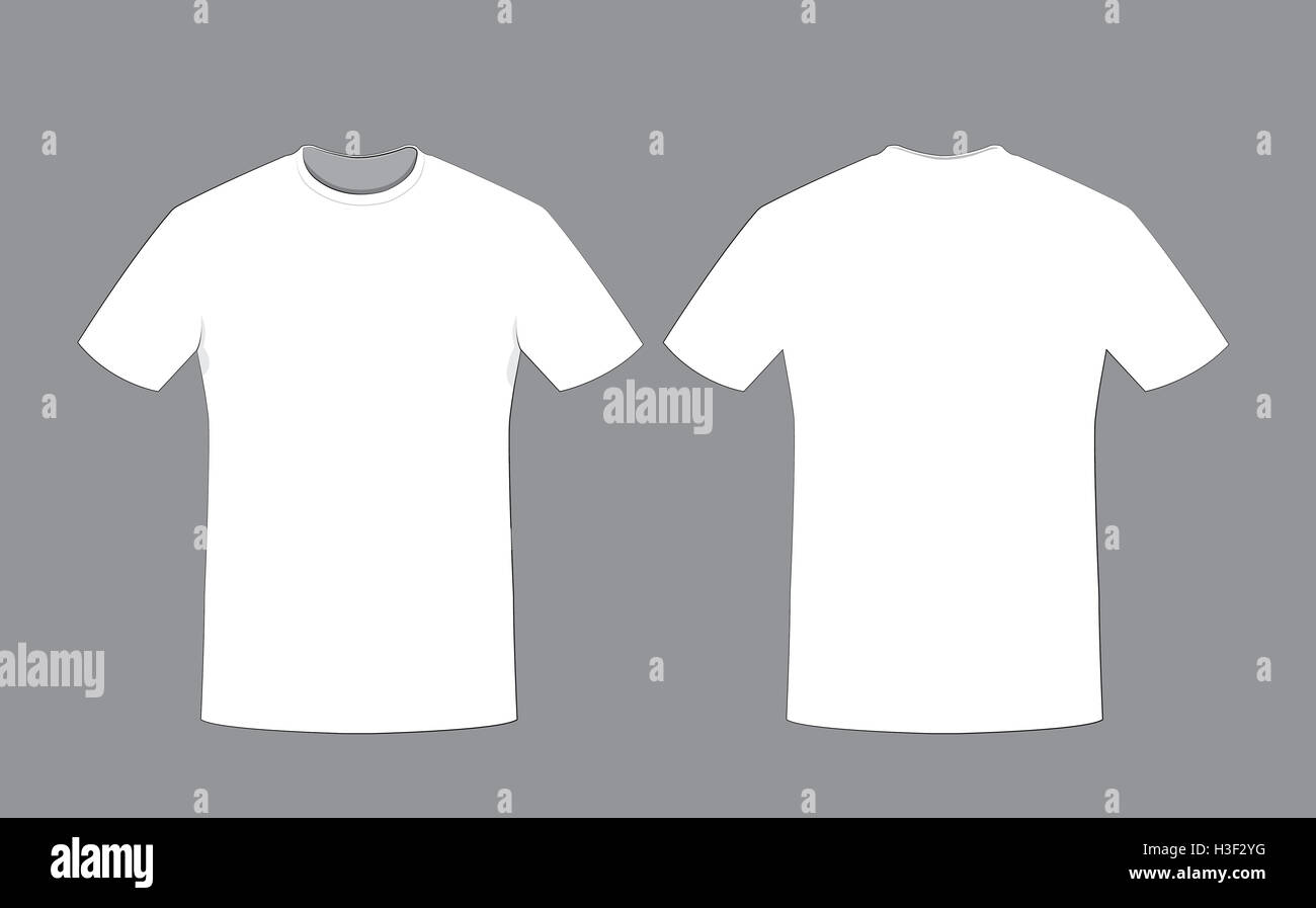 A Vector Cartoon Representing White Cotton Man T Shirt Template On Grey Background Front And Back Sides Copy Space