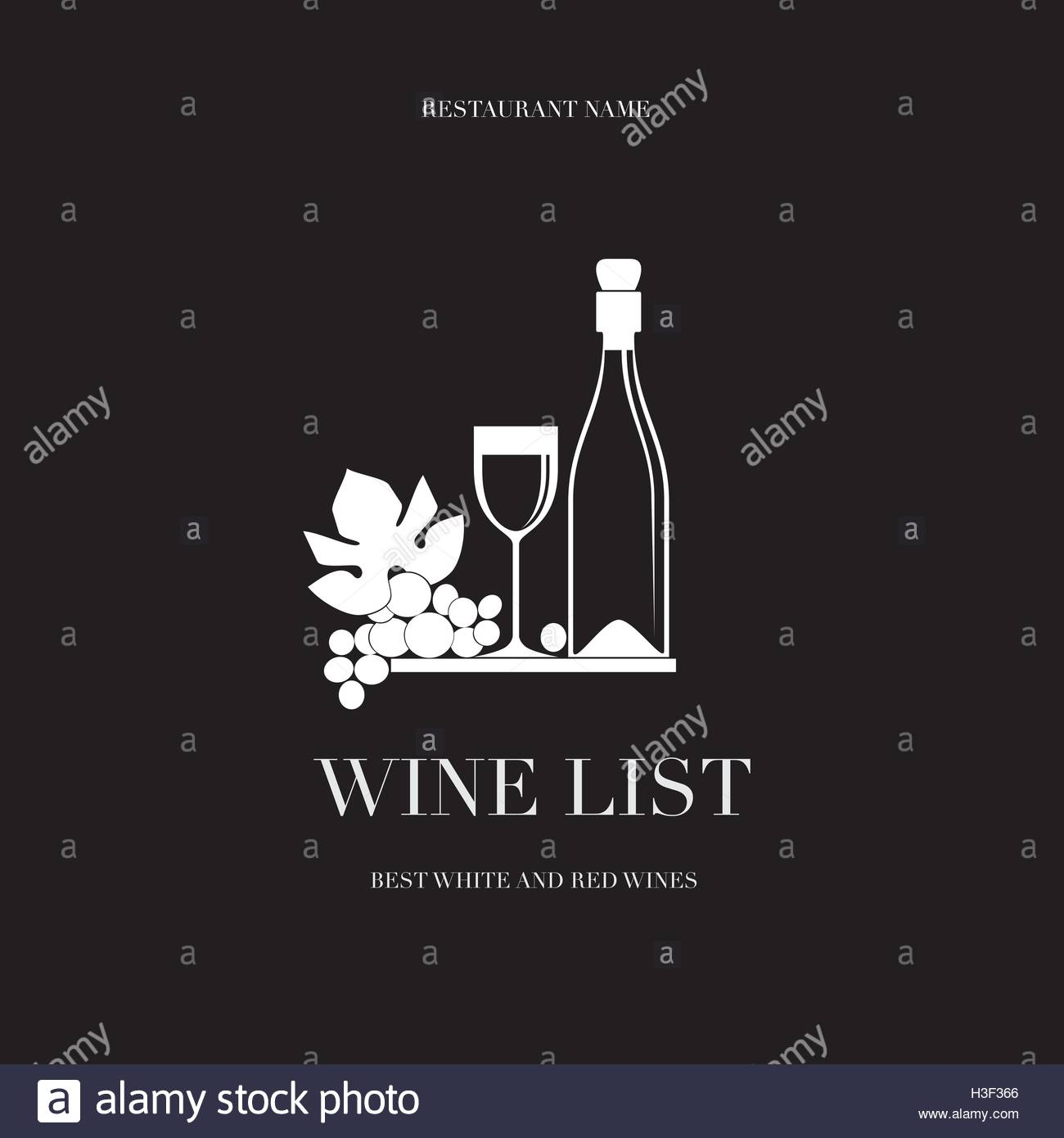 Bunch of Grapes, glass and bottle on a black background - Stock Image