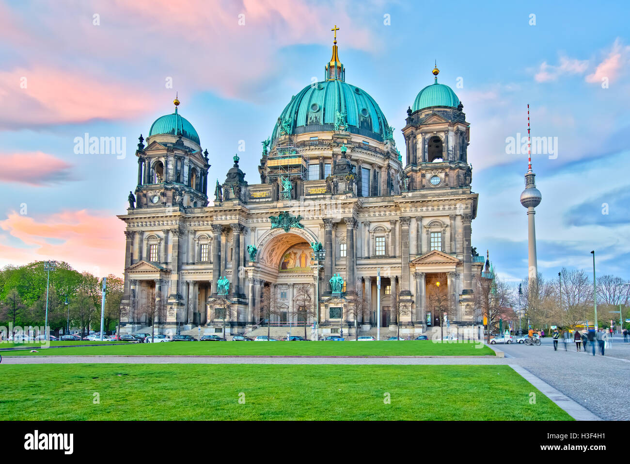 Berliner Dom at night in Berlin, Germany. - Stock Image