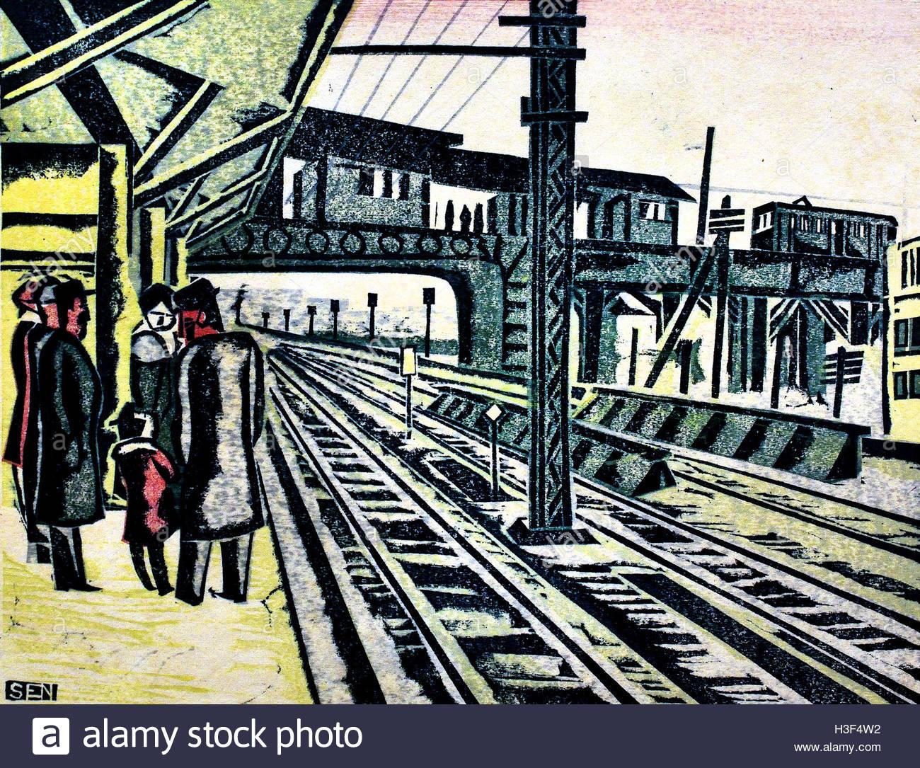 Gotanda Station 1932 Maekawa Senpan 1888-1960 Tokyo Japan ( color woodcut on paper  ) - Stock Image