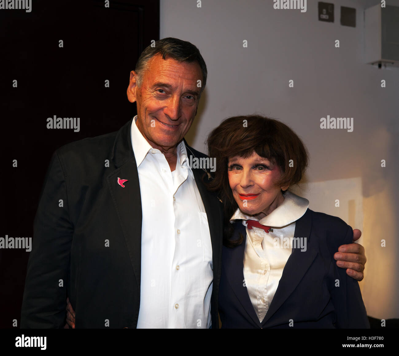 Veteran actors Fenella Fielding and Stephen Grief, pose after their performance of 'Tears, Treachery.and  just - Stock Image
