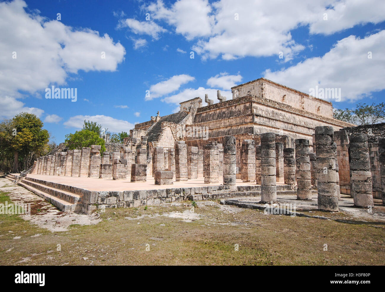 Fragment of ruins, Archaeological site in Chichen Itza, Mexico - Stock Image