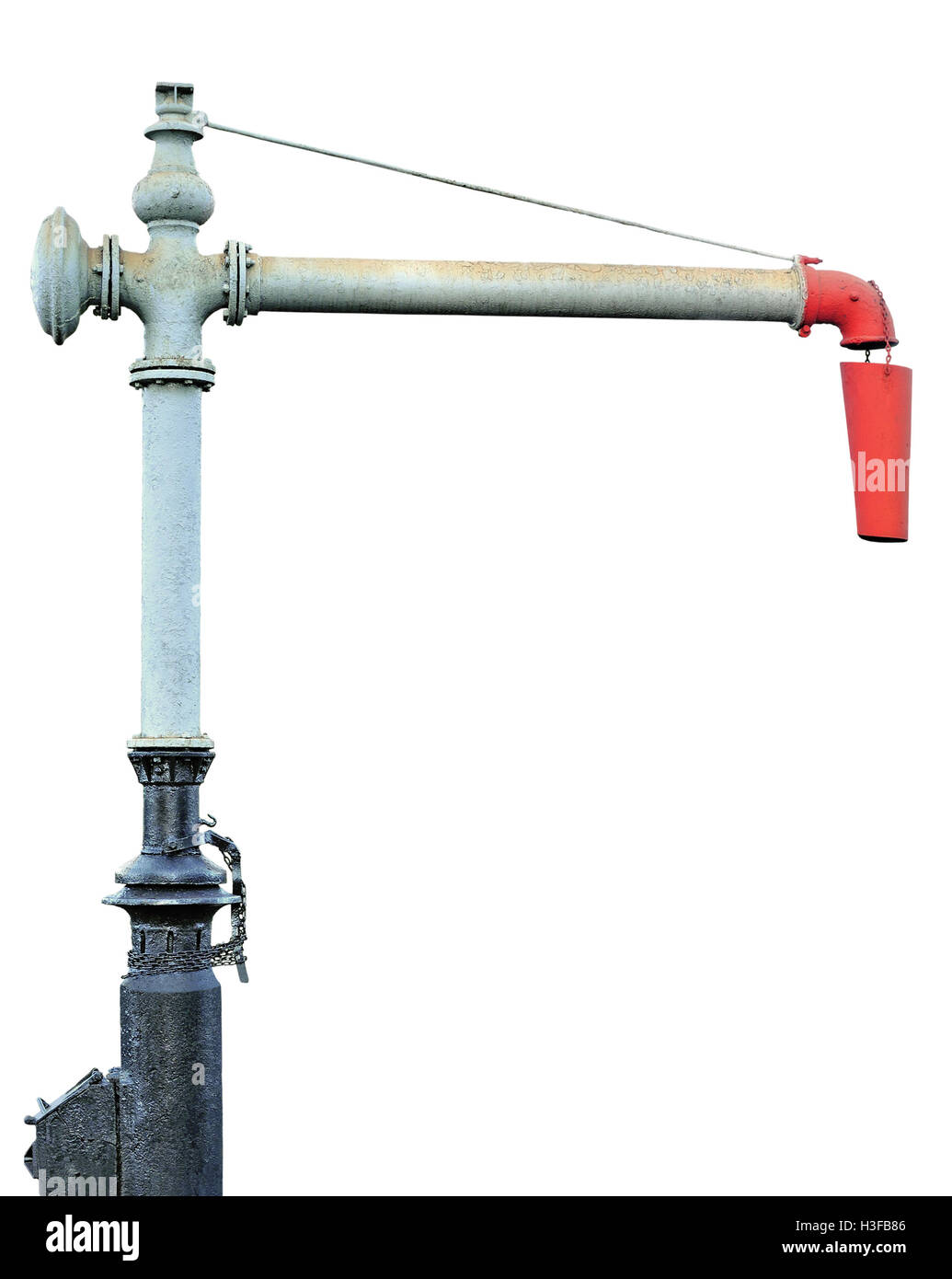 Steam Train Locomotive Engine Water Crane Column Standpipe Spout, Railroad Station Railway Tracks Watering Supply - Stock Image