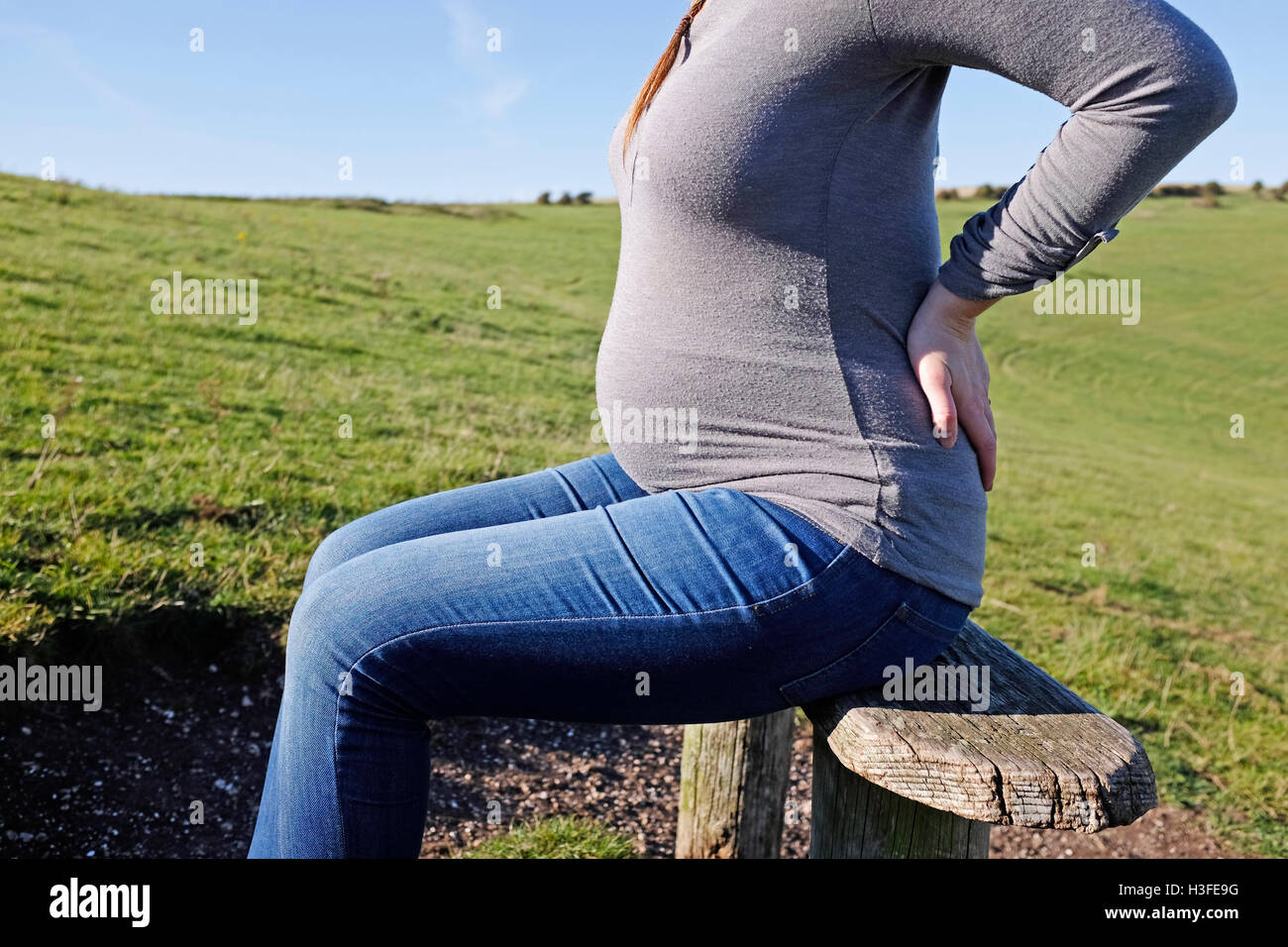 Young pregnant woman in her 20s takes a rest on park bench as she holds her back which aches - Stock Image