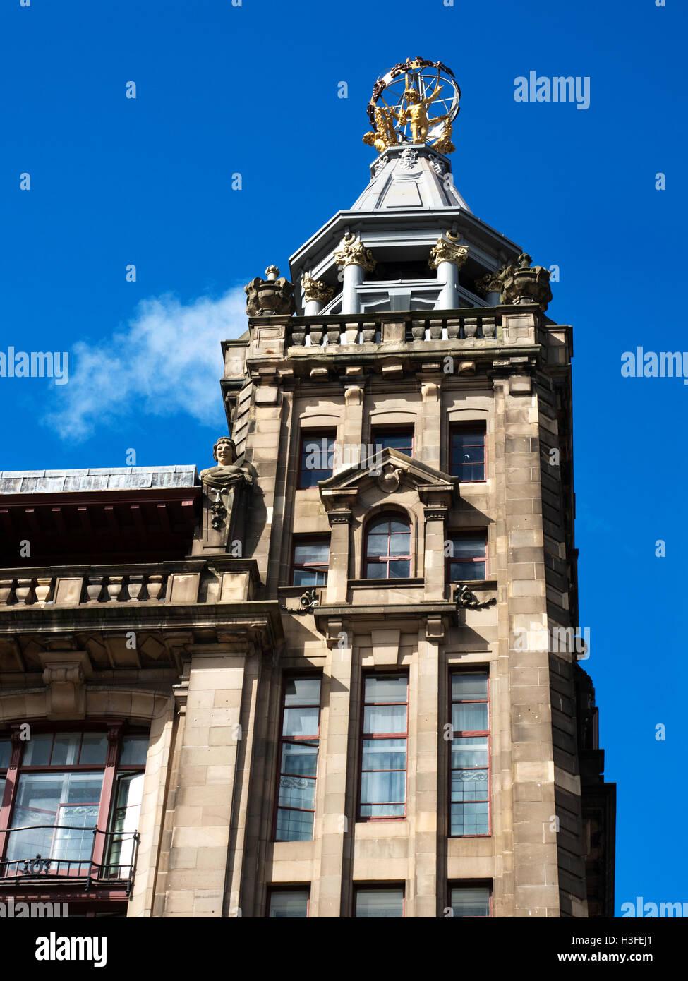 RW Forsyth Sphere atop the former R W Forsyth Department Store in Princes Street Edinburgh Midlothian Scotland - Stock Image