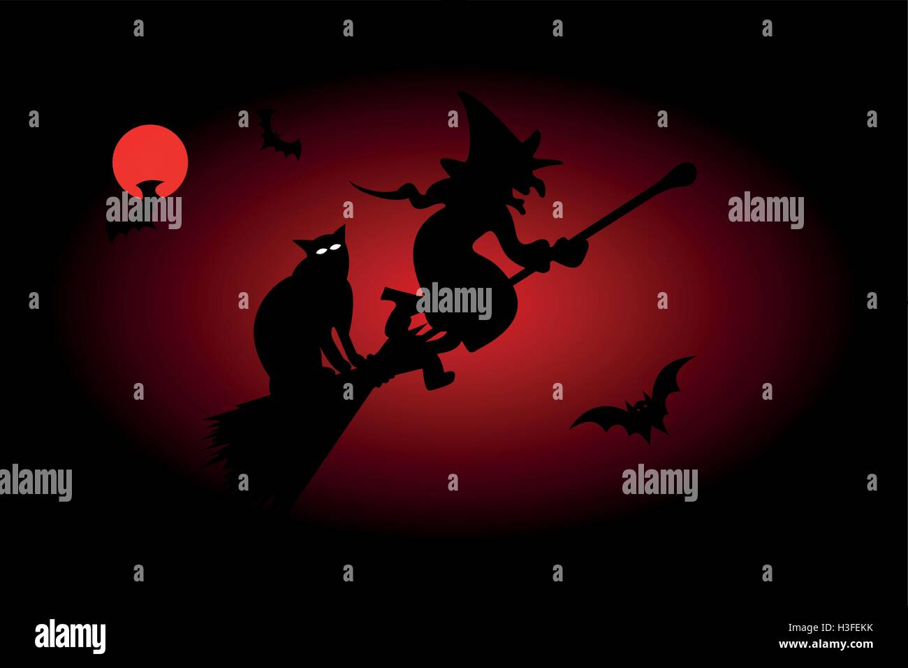 Witch on a broomstick, witch, hag, harridan, - Stock Image
