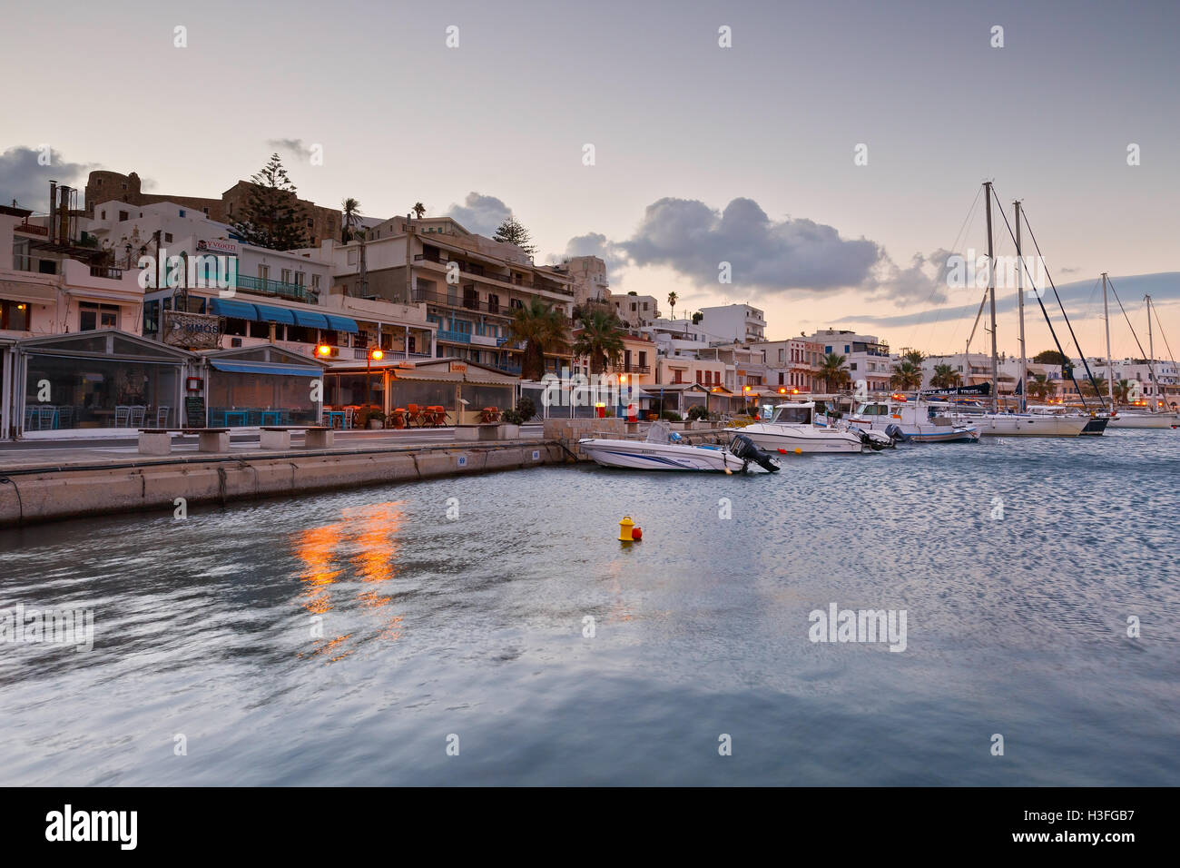 Seafront and the port of Naxos town. - Stock Image