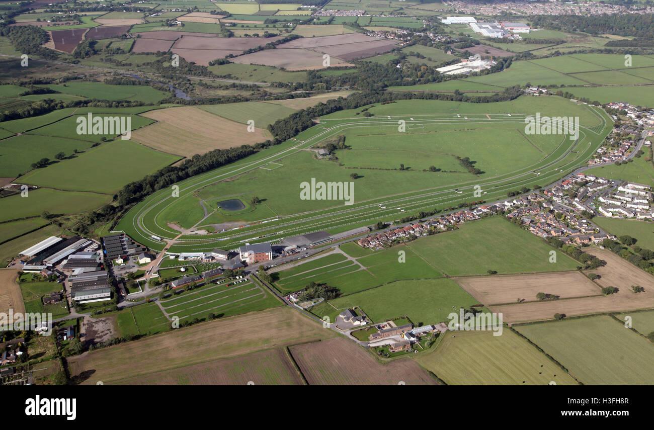 aerial view of Carlisle Racecourse, Cumbria, UK - Stock Image