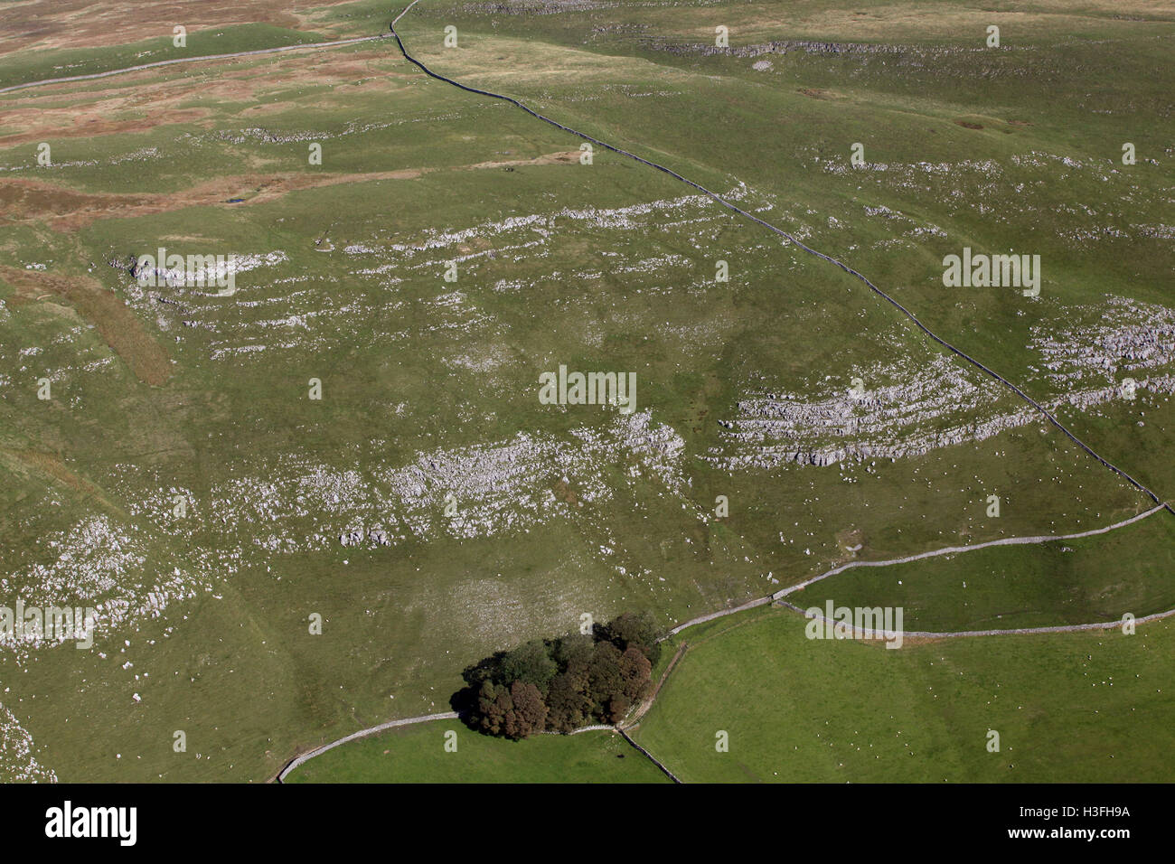 aerial view of a hillside escarpment in the Yorkshire Dales, UK - Stock Image
