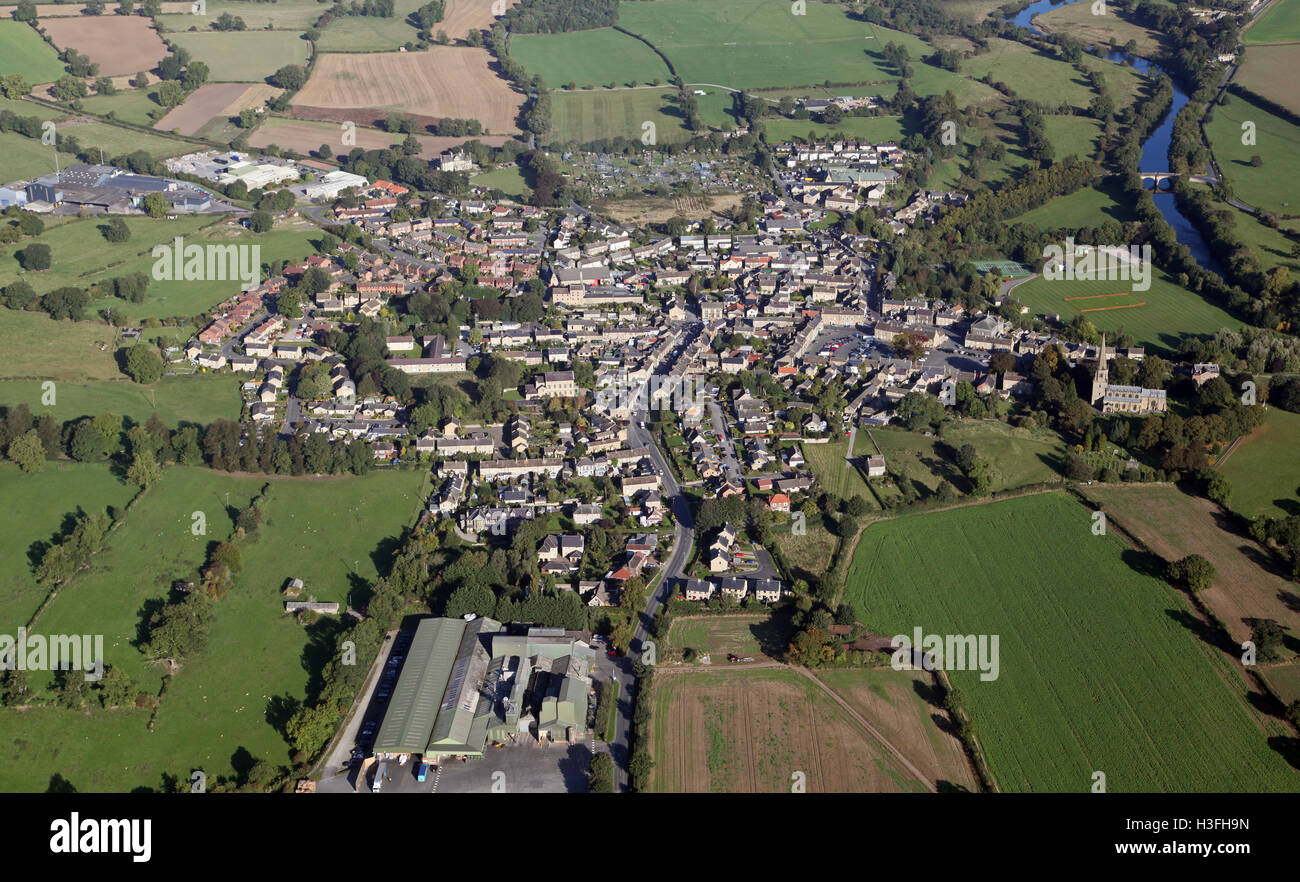 aerial view of the Yorkshire Dales village of Masham, UK - Stock Image
