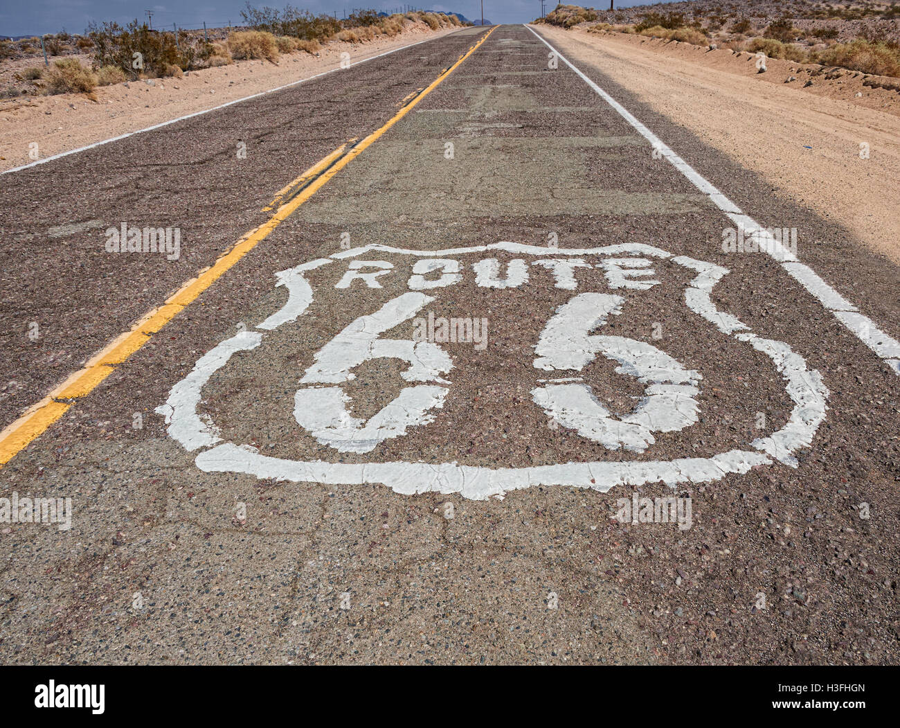 U.S. Route 66 (US 66 or Route 66), also known as the Will Rogers Highway, the Main Street of America or the Mother - Stock Image