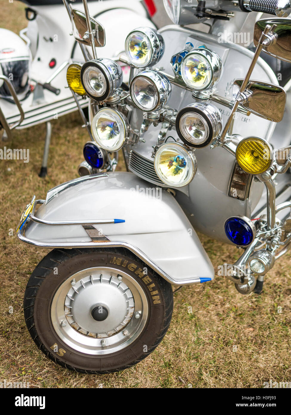 Vespa Scooter Headlight Detail - Stock Image