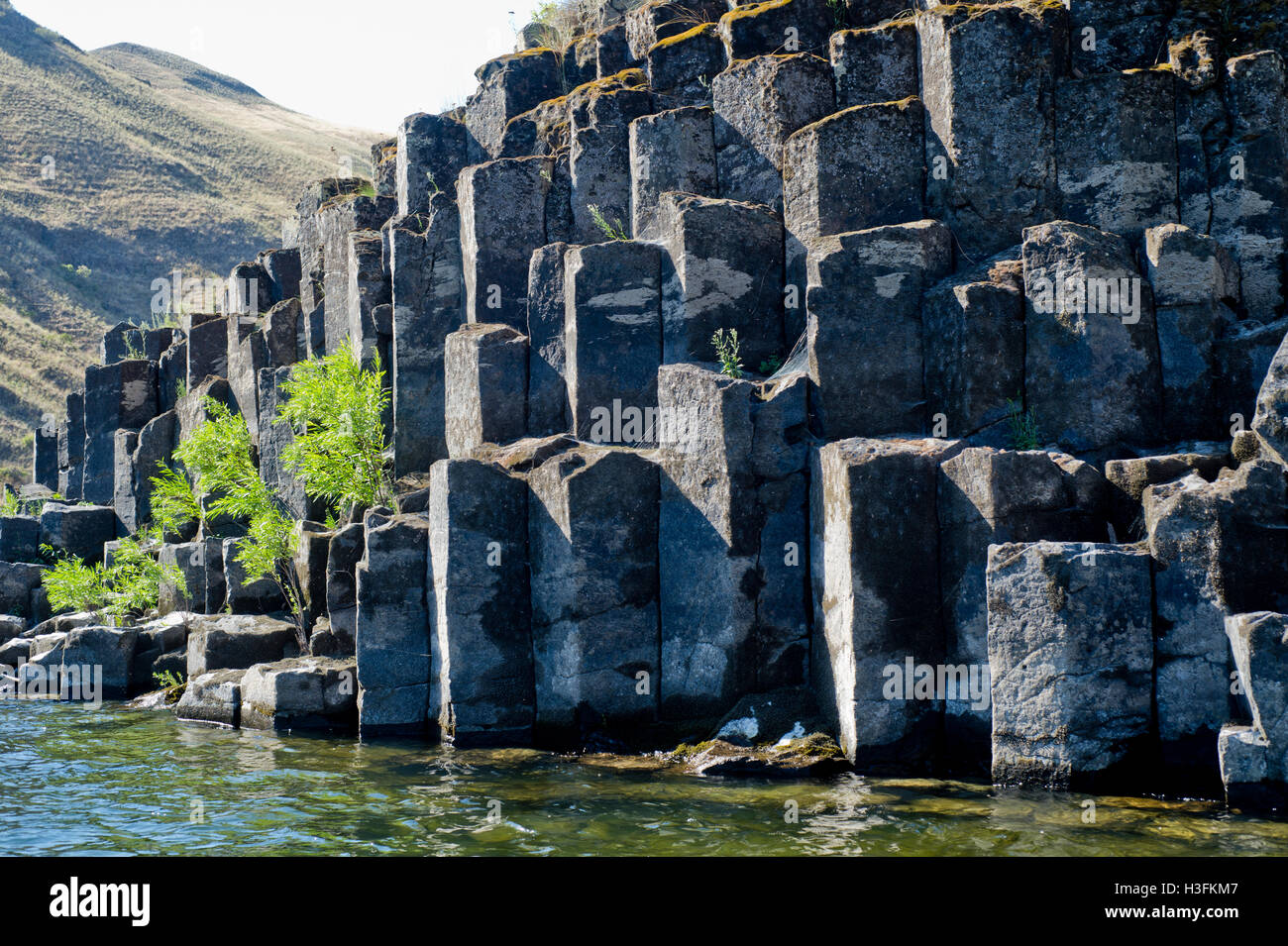 Columnar basalt along the Lower Salmon River in west-central Idaho Stock Photo
