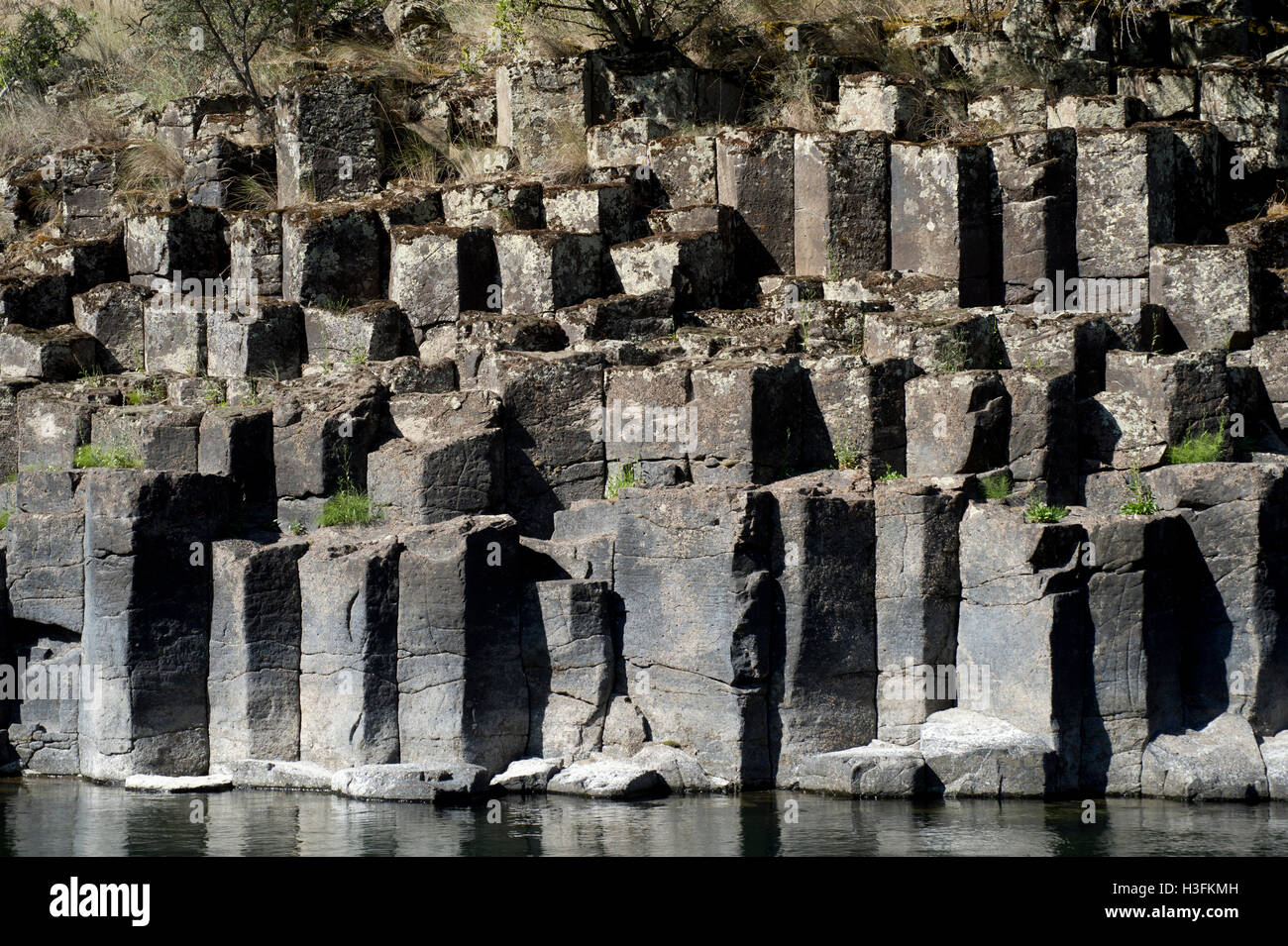 Columnar basalt along the Lower Salmon River in west-central Idaho - Stock Image