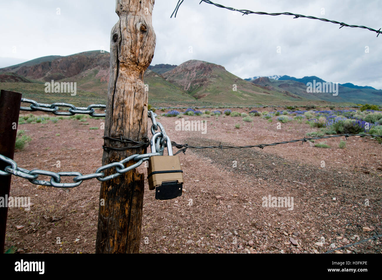 Locked gate blocking access to public land in eastern Oregon - Stock Image