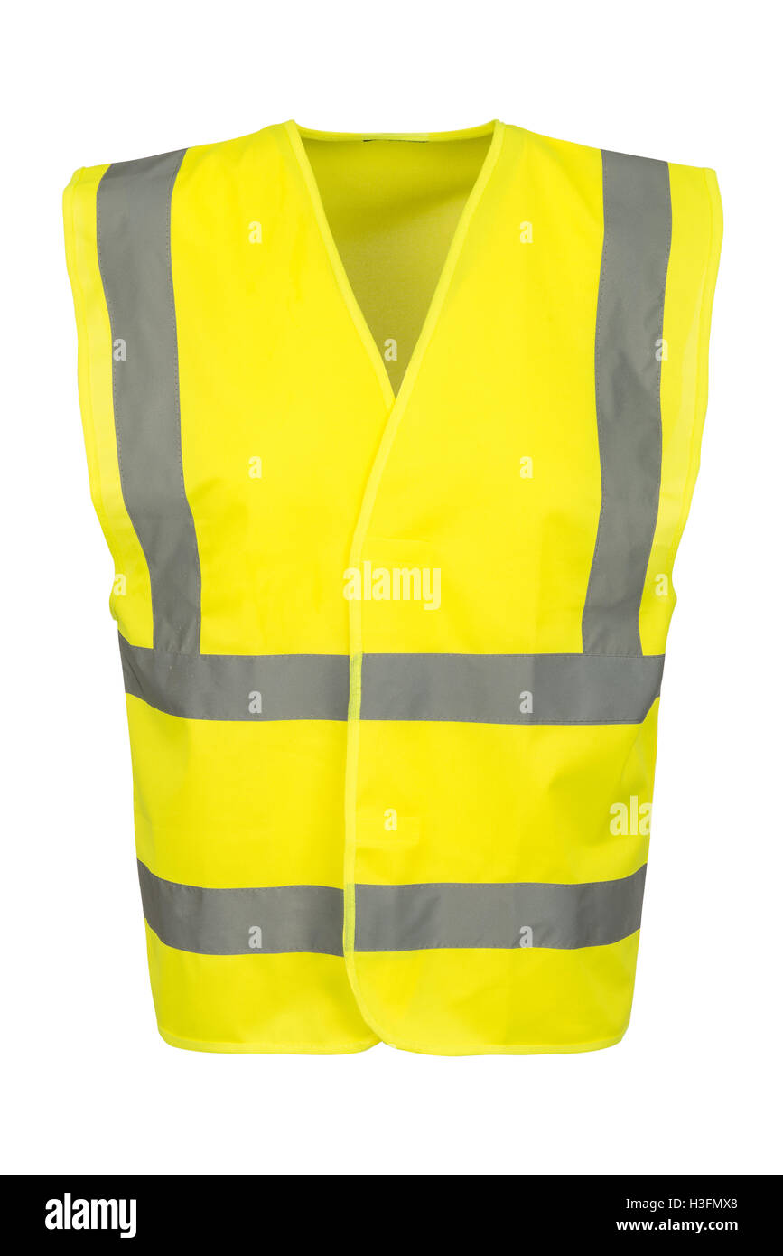Cutout of a yellow safety vest viewed at the front. - Stock Image