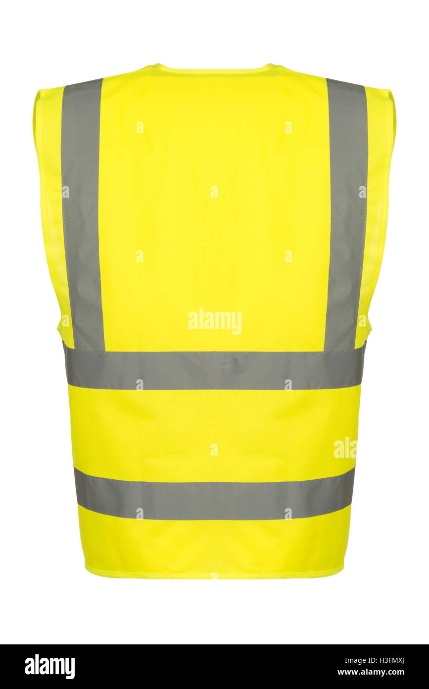 Rear of a yellow reflective safety vest. - Stock Image