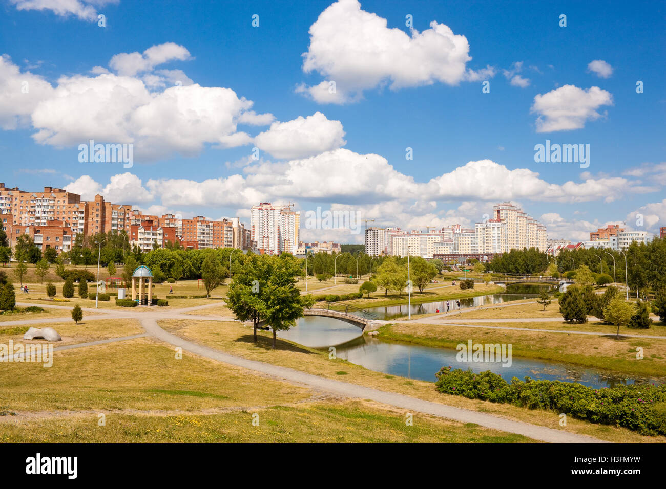 Park and river in Uruchje district, Minsk, Belarus - Stock Image