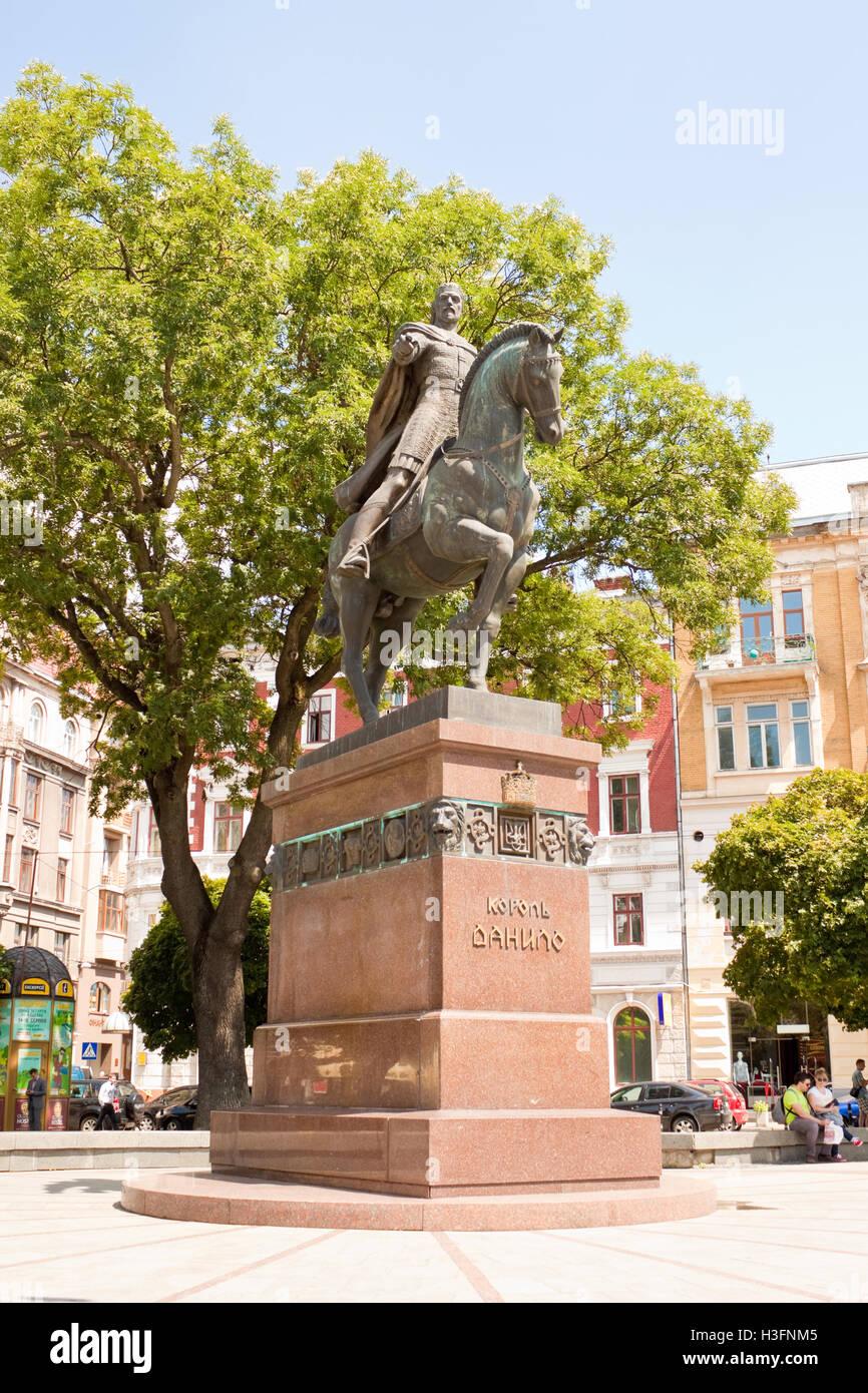 Lviv, Ukraine - July 16, 2015: Statue of Daniel of Galicia in Lviv, Ukraine Stock Photo