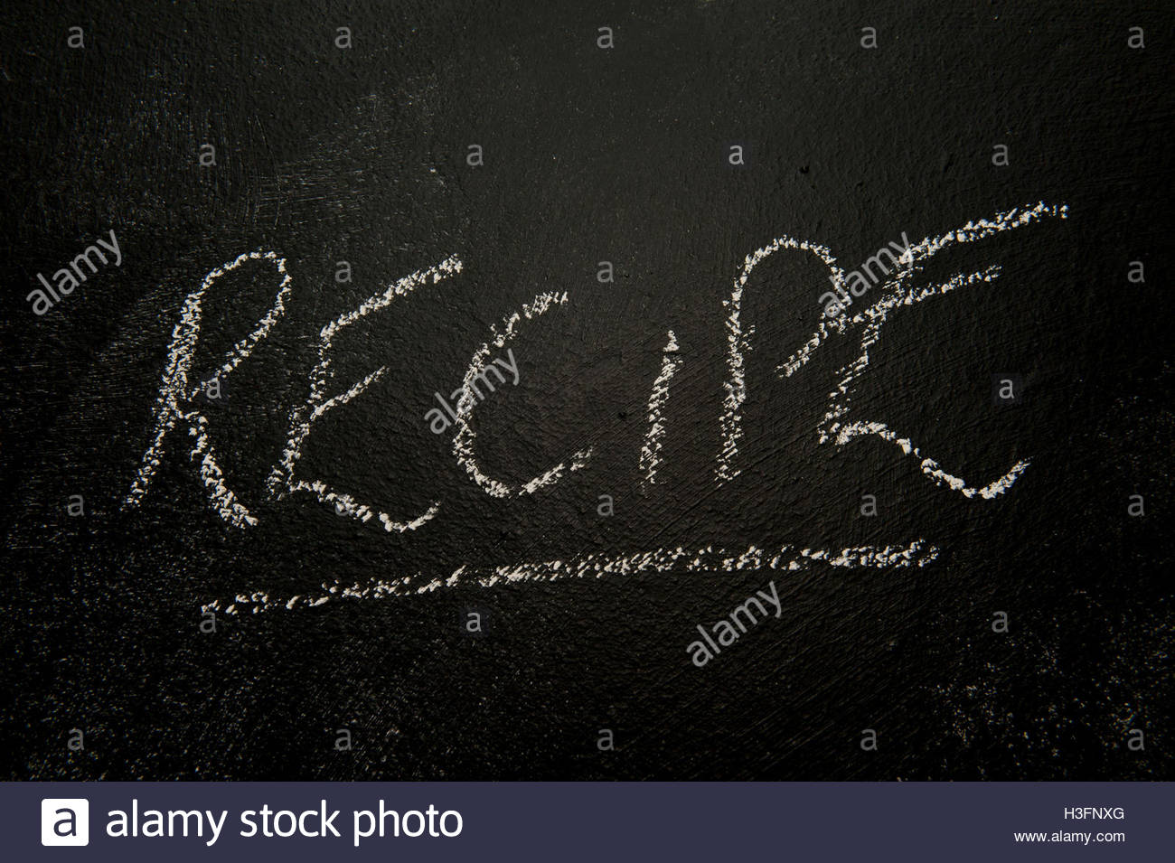 Recipe written on a blackboard - Stock Image