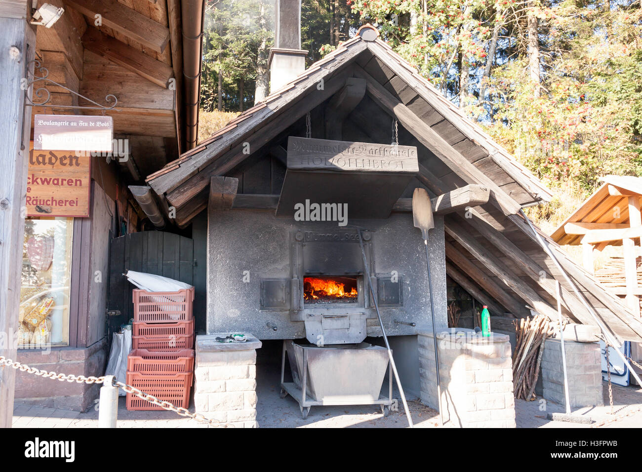 Wood burning Brick oven at Hotel at lake Mummelsee in Southern Germany Black Forest, Baden-Wuerttemberg, Germany, - Stock Image