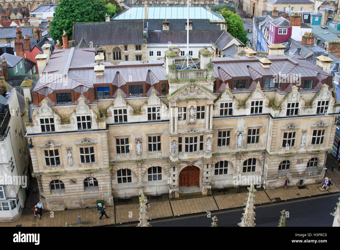 Oriel College, Oxford, as seen from the University Church of St Mary the Virgin. - Stock Image