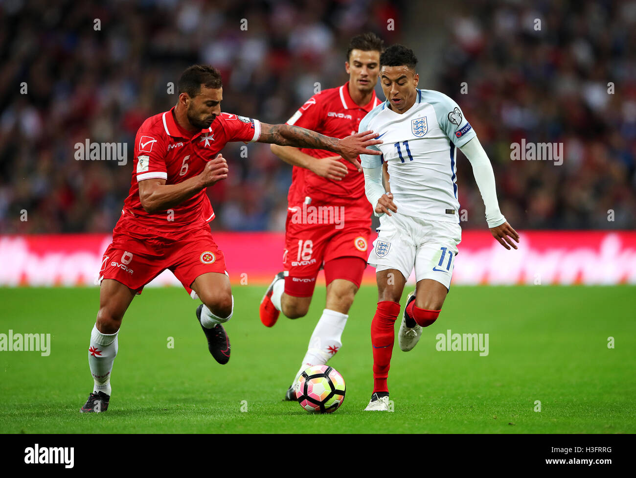 England s Jesse Lingard (right) in action with Malta s Steve Borg (left)  during the 2018 FIFA World Cup Qualifying match at Wembley Stadium 2a3bd6265